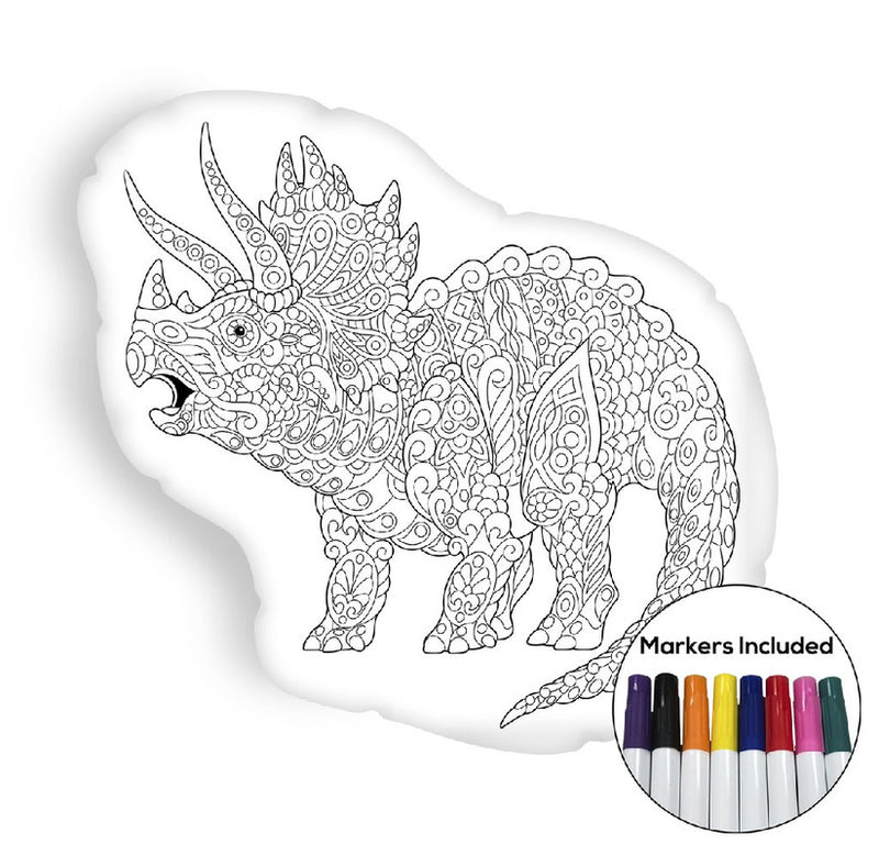 Triceratops coloring pillow Made In USA