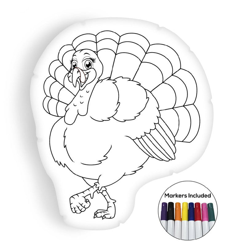 Turkey coloring pillow Made In USA