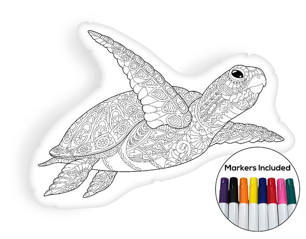 Underwater turtle coloring pillow Made In USA