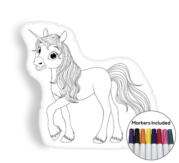 Unicorn I coloring pillow Made In USA