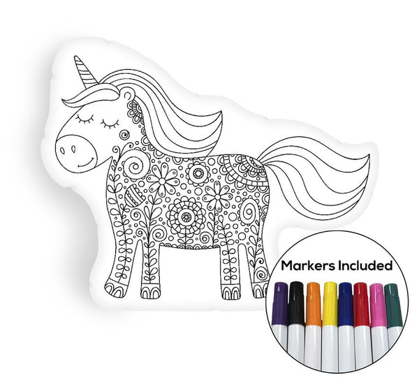Unicorn II coloring pillow Made In USA