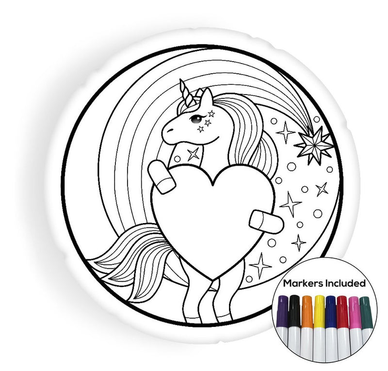 Unicorn round coloring pillow Made In USA