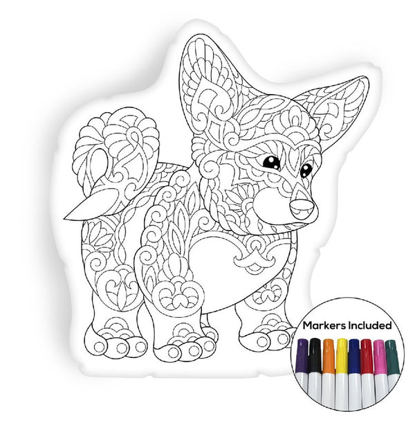 Welsh corgi puppy coloring pillow Made In USA