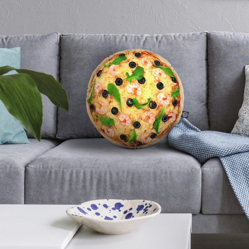 Pizza With Shrimp Throw Pillow By All About Vibe