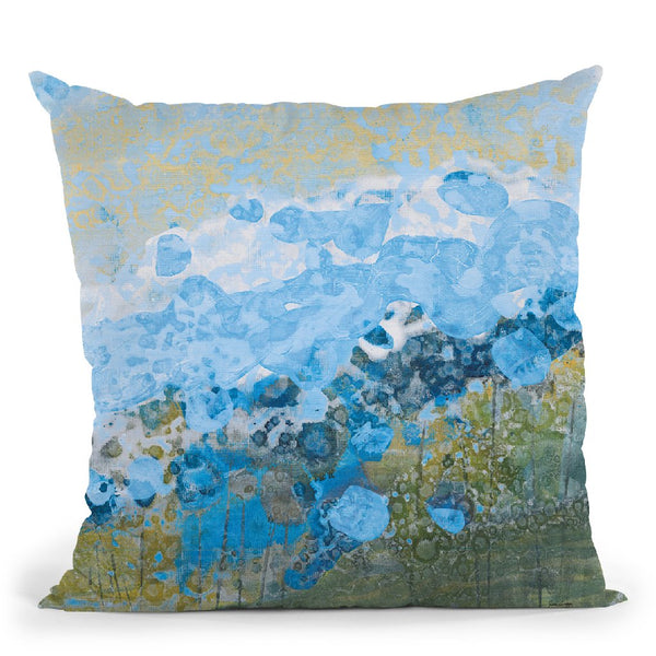 Blue Puffs Throw Pillow By Jan Griggs