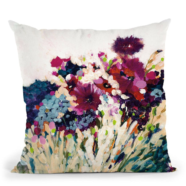 In Bloom On White Crop Throw Pillow By Jan Griggs