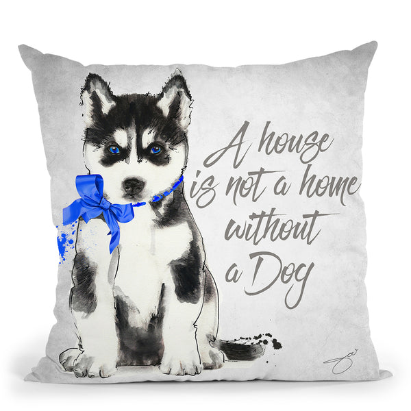 A Home Is Not A Home Husky Throw Pillow by Jodi Pedri