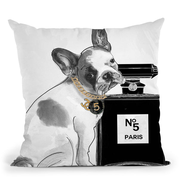 Leave Us Alone Frenchie Throw Pillow by Jodi Pedri