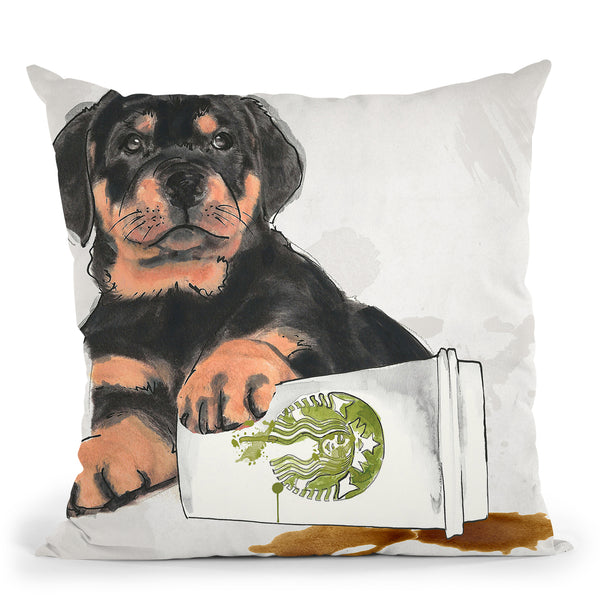 Oops Rottweiler Throw Pillow by Jodi Pedri