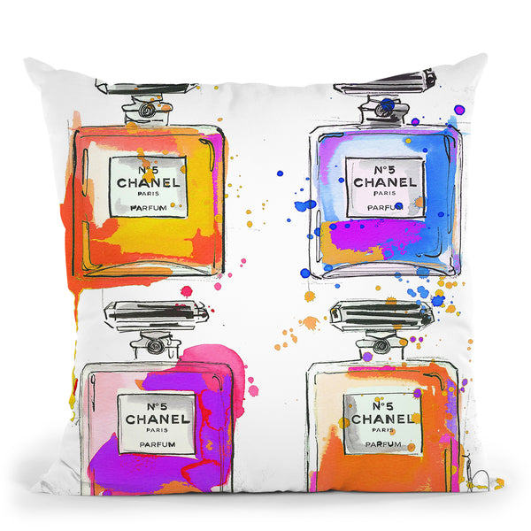 Multi Color Chanel BottlesÊ Throw Pillow by Jodi Pedri