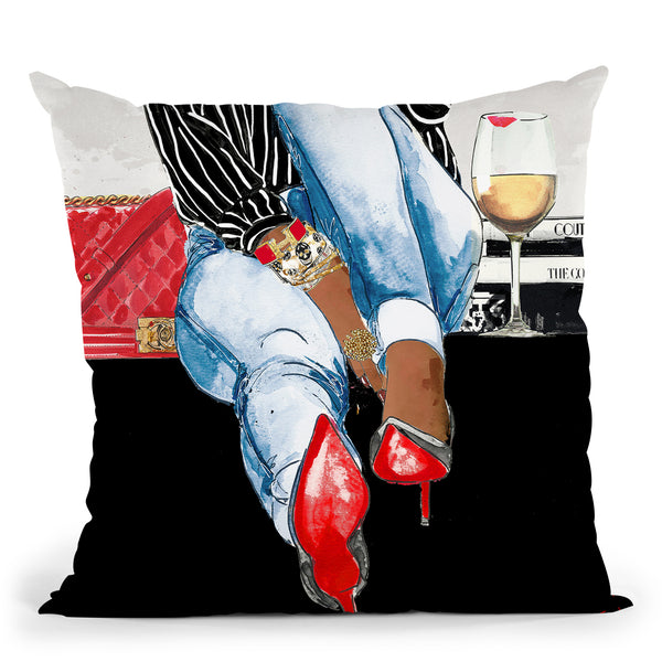 Wine Time I Throw Pillow by Jodi Pedri