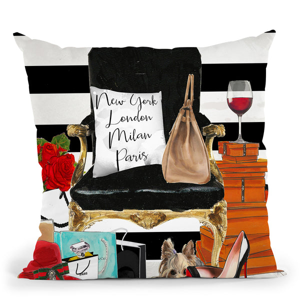 Black Chair Throw Pillow by Jodi Pedri
