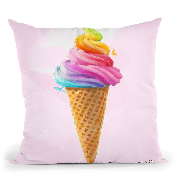 Rainbow Cone Throw Pillow by Jodi Pedri