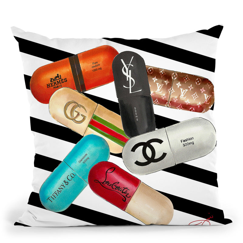 Designer Drugs Throw Pillow by Jodi Pedri