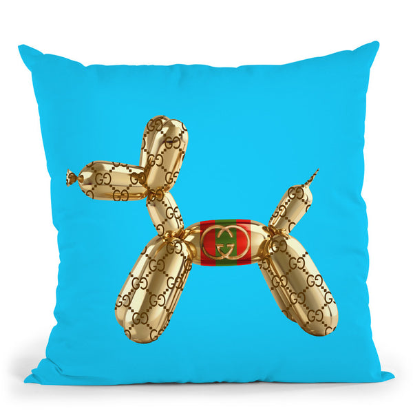 Designer G Pup Blue Throw Pillow By Jodi Pedri - by all about vibe
