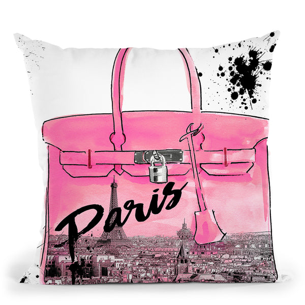 Pink Paris Throw Pillow by Jodi Pedri