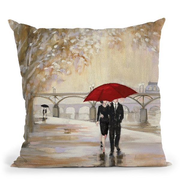 Romantic Paris Iii Red Umbrella Throw Pillow By Julia Purinton
