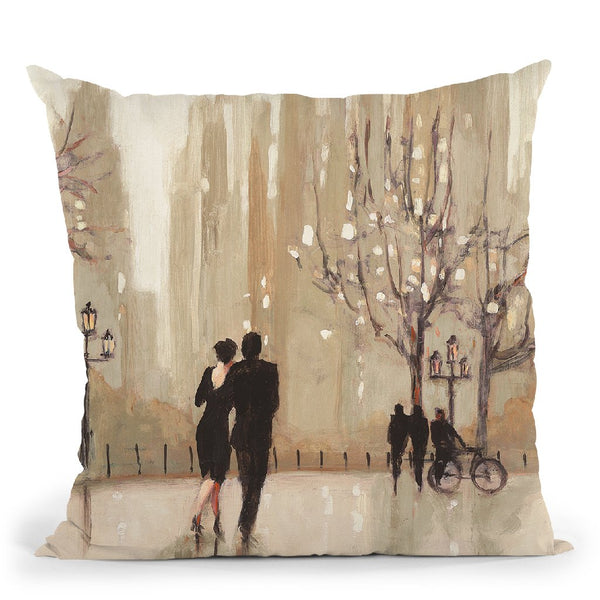An Evening Out Neutral Throw Pillow By Julia Purinton