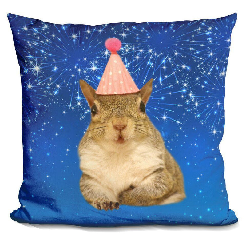 Jill Birthday Hat Fireworks Square Pillow