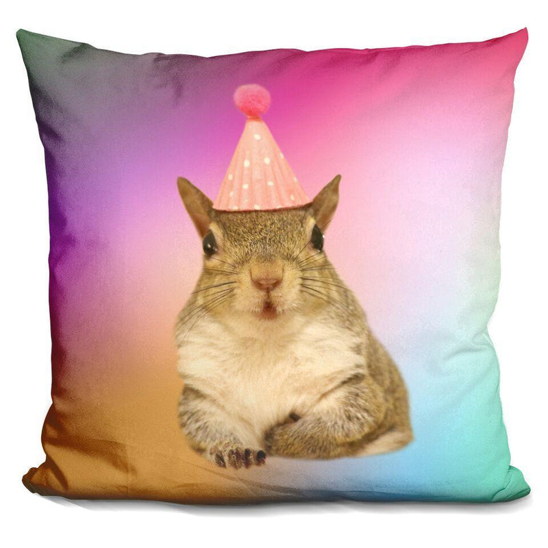 Jill Birthday Hat Tie Dye Square Pillow