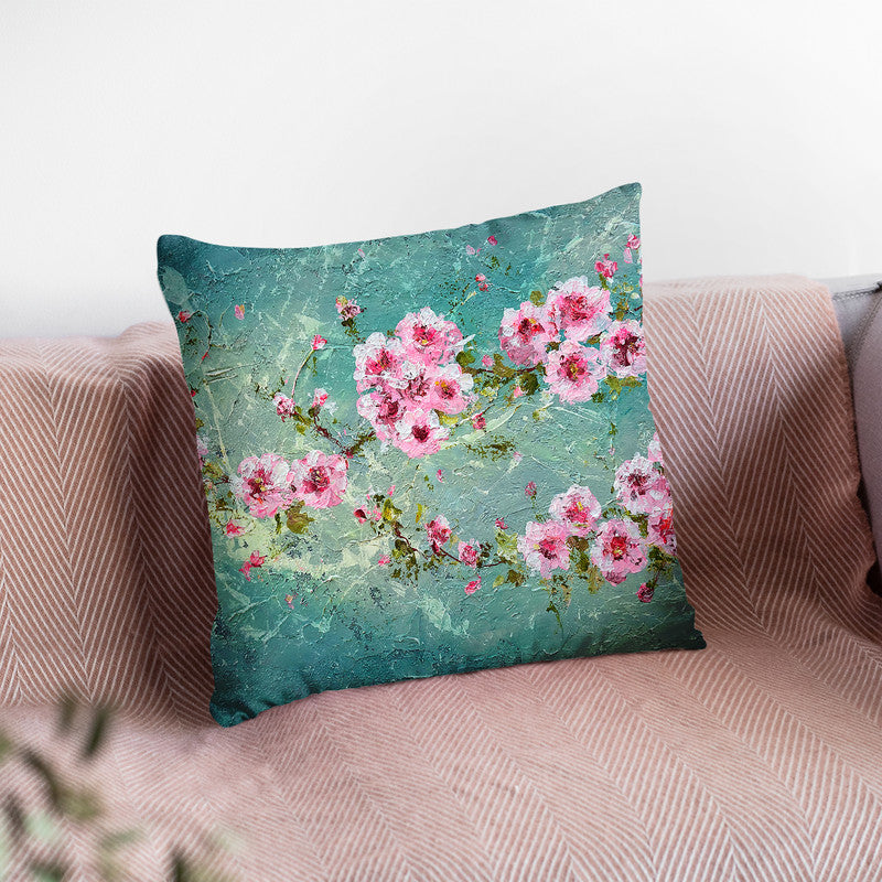 Pink Cherry Blossoms Throw Pillow By Kathleen Reits