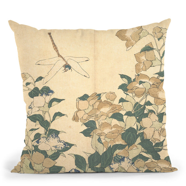 Dragonfly And Bellflower Throw Pillow By Katsushika Hokusai