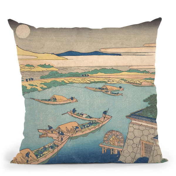 Moonlight On The Yodo River (Yodogawa) Throw Pillow By Katsushika Hokusai