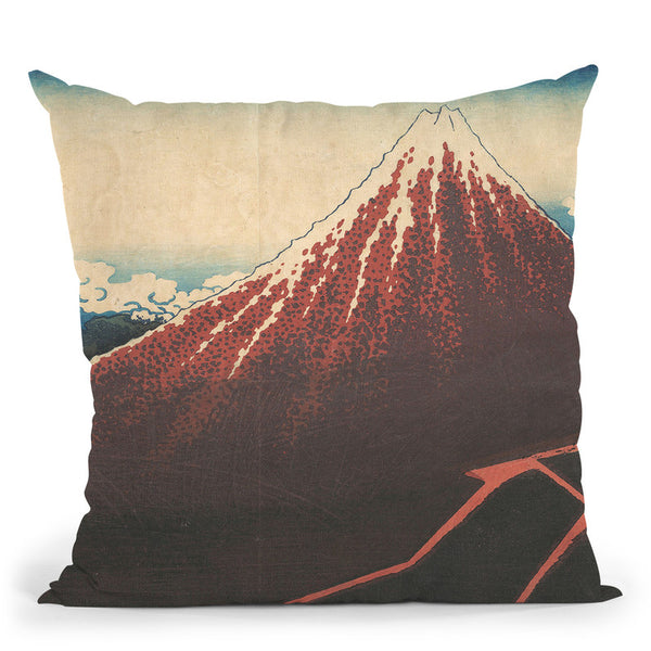 Storm Below Mount Fuji (Sanka No Haku U) Throw Pillow By Katsushika Hokusai