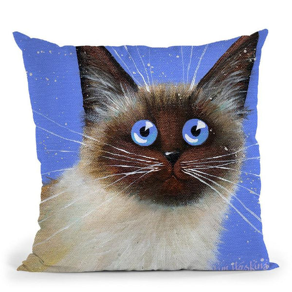 Blue Caboose Throw Pillow By Kim Haskins