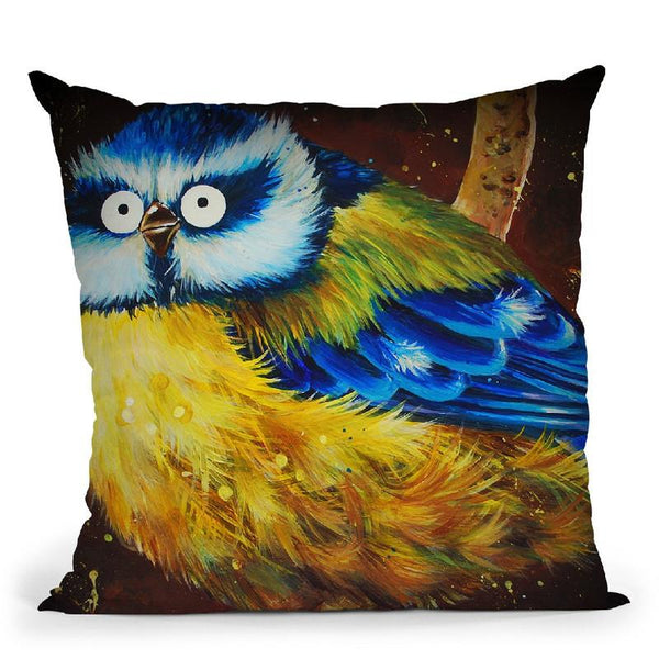 Brian The Bluetit Throw Pillow By Kim Haskins