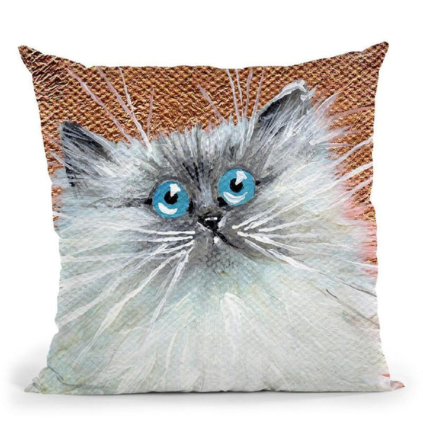 Copper Kitten Throw Pillow By Kim Haskins