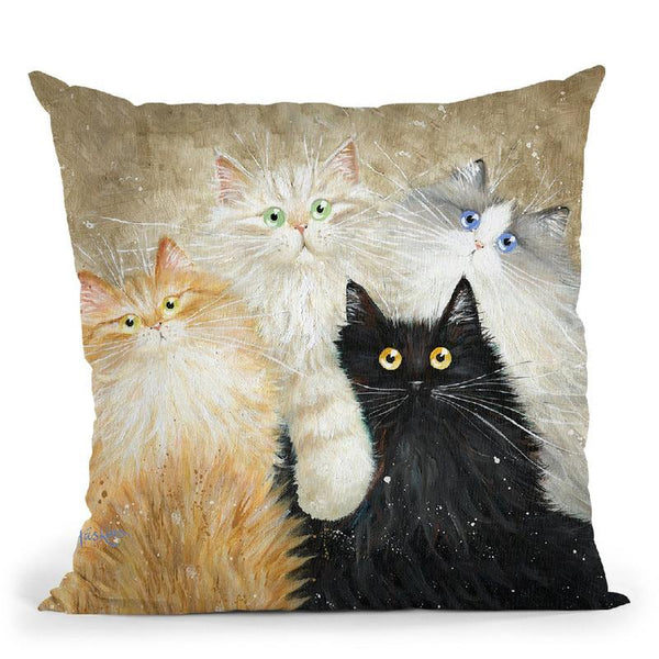 Die Flauschige Bande (The Fluffy Gang) Throw Pillow By Kim Haskins