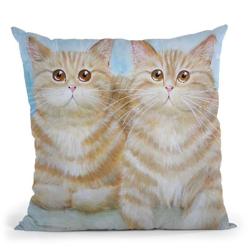 Felix & Oscar Throw Pillow By Kim Haskins