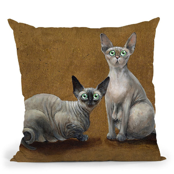 Fluffy And Coco Throw Pillow By Kim Huskins