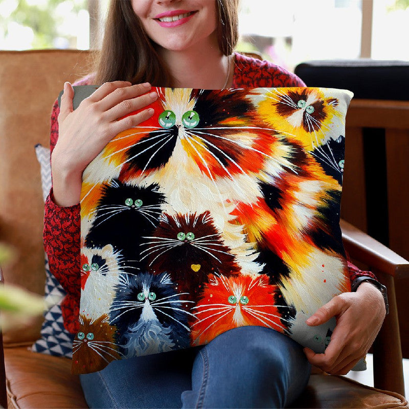 Kitty Litter Throw Pillow By Kim Huskins