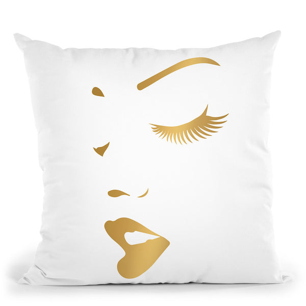 Makeup Gold Throw Pillow By Little Pitti