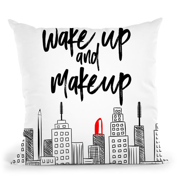 Wake Up And Makeup Throw Pillow By Little Pitti