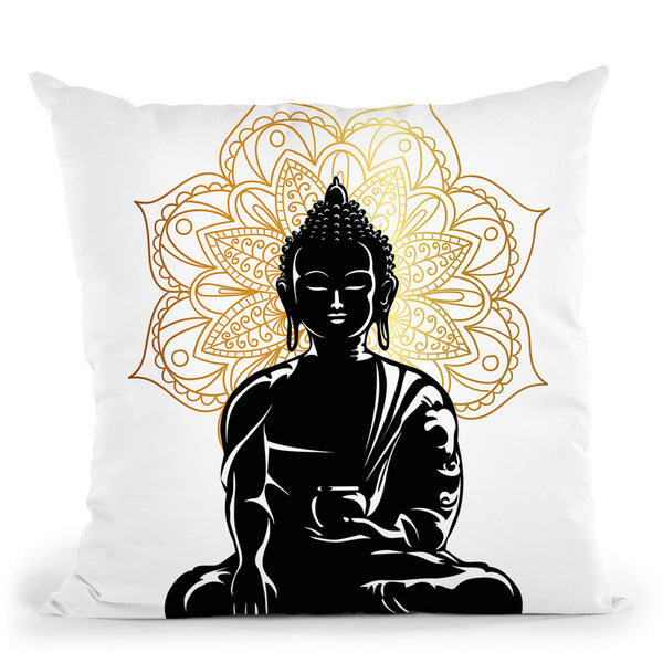 Budha Throw Pillow By Little Pitti