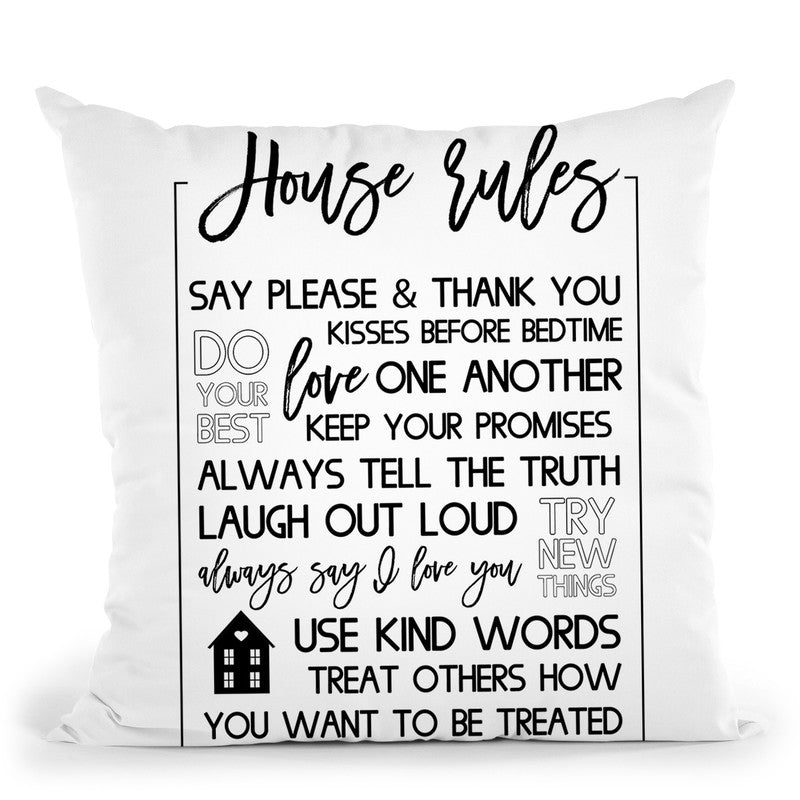 House Rules Throw Pillow By Little Pitti