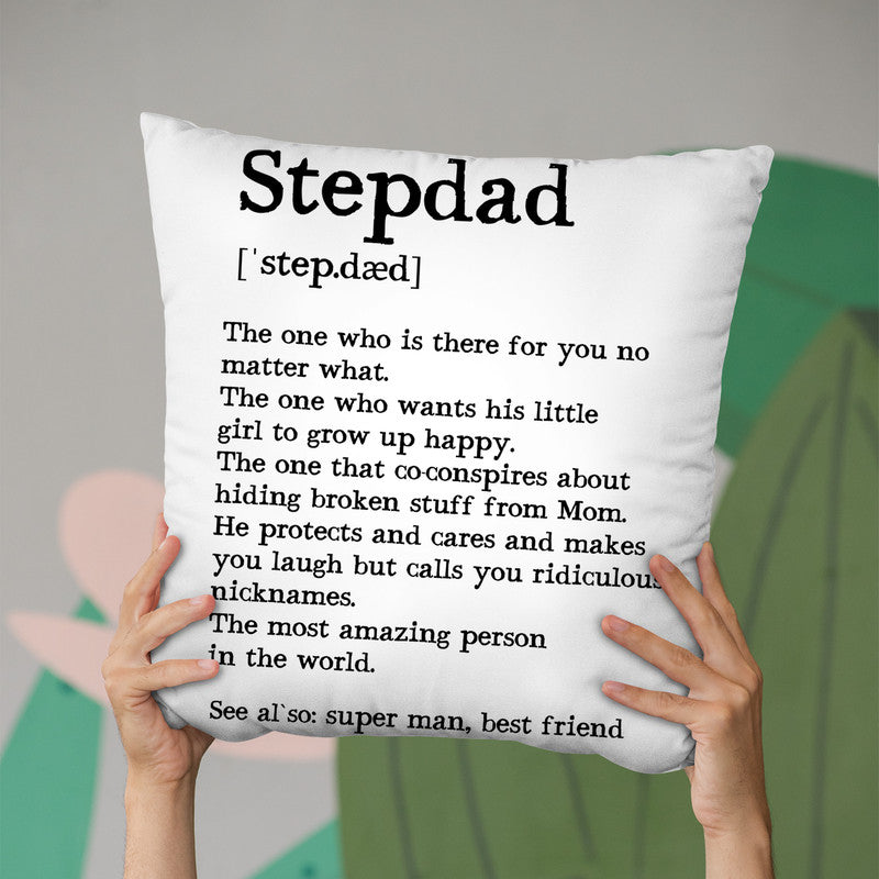 Stepdad Quote Throw Pillow By Little Pitti