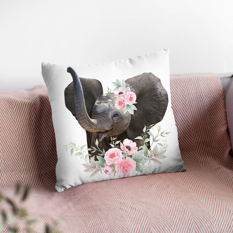Flower Baby Elephant Throw Pillow By Little Pitti