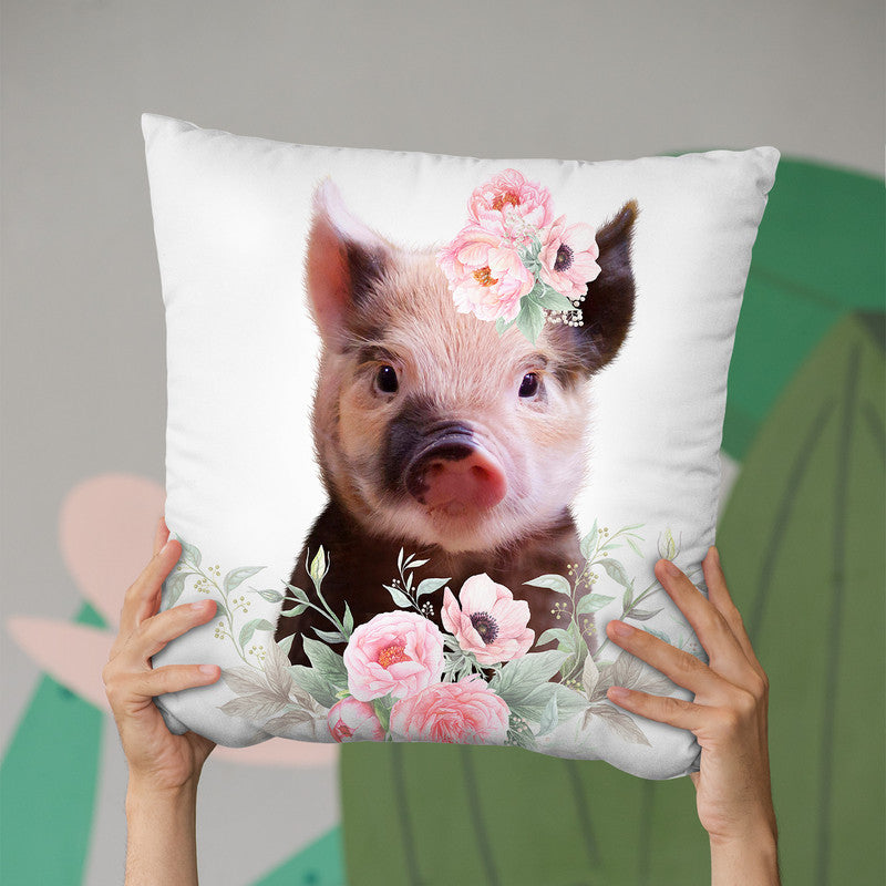 Flower Baby Pig Throw Pillow By Little Pitti