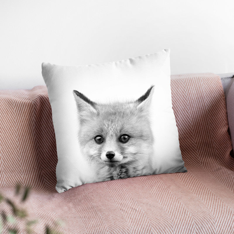 Baby Fox Bw Throw Pillow By Little Pitti