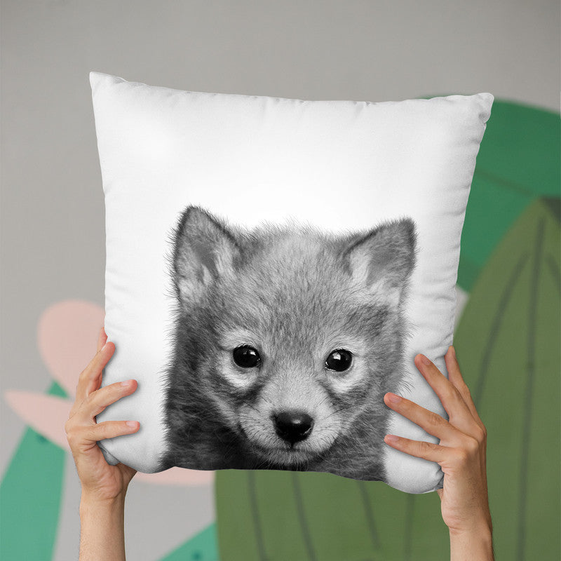 Baby Wolf Bw Throw Pillow By Little Pitti