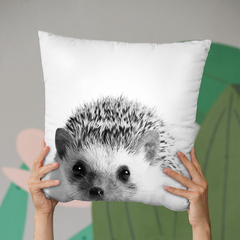Hedgehog Bw Throw Pillow By Little Pitti