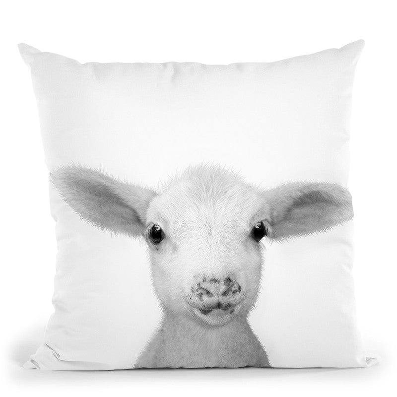 Lamb Bw Throw Pillow By Little Pitti