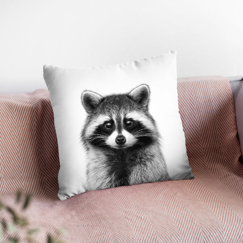Raccoon Bw Throw Pillow By Little Pitti