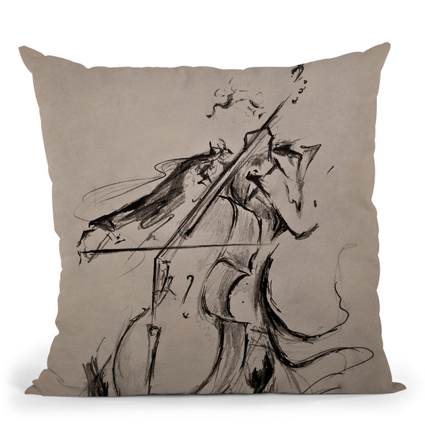 The Cellist Throw Pillow By Marc Allante