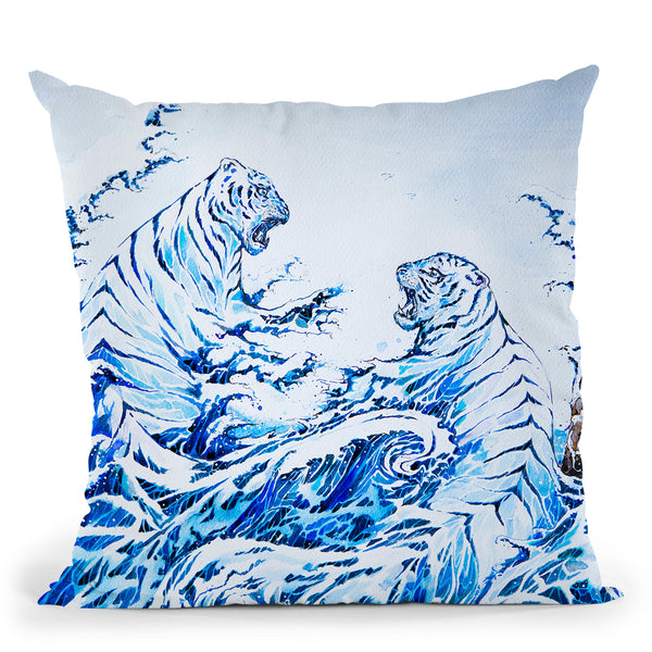 The Crashing Waves Throw Pillow By Marc Allante