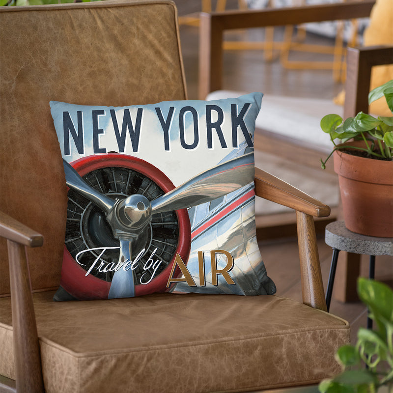 Travel By Air Ii Throw Pillow by Marco Fabiano